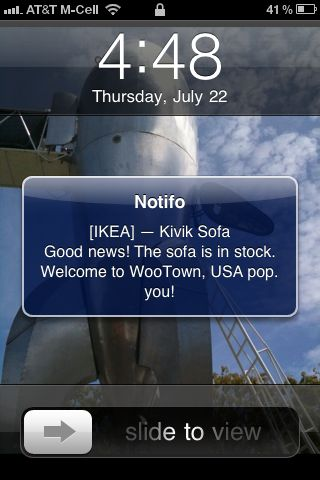 example notifo notification on iPhone